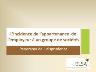 L'incidence de l'appartenance  de l'employeur à un groupe de sociétés