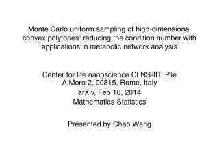 Center for life nanoscience CLNS-IIT, P.le A.Moro 2, 00815, Rome, Italy arXiv, Feb 18, 2014