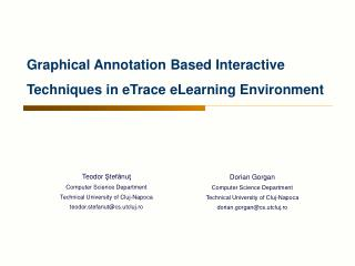 Graphical Annotation Based Interactive Techniques in eTrace eLearning Environment