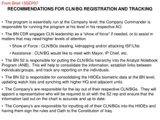 RECOMMENDATIONS FOR CLN/BG REGISTRATION AND TRACKING