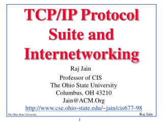 TCP/IP Protocol Suite and  Internetworking