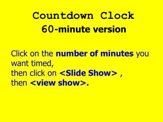 Countdown Clock 60 -minute version