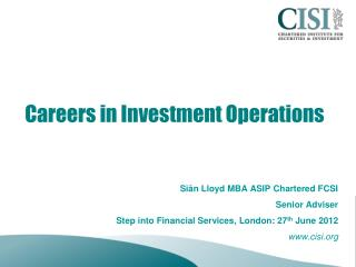 Careers in Investment Operations