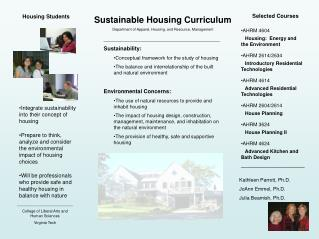 Sustainable Housing Curriculum Department of Apparel, Housing, and Resource, Management