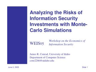 Analyzing the Risks of Information Security Investments with Monte-Carlo Simulations