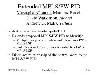 draft-aissaoui-extended-pid-00.txt Extends  proposed MPLS/PW PID to identify: