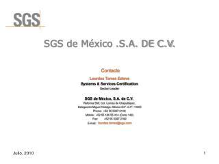 SGS de México .S.A. DE C.V.