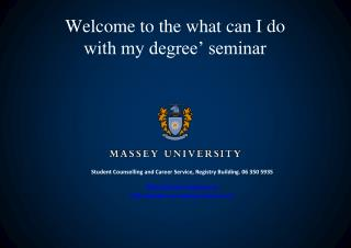 Welcome to the what can I do with my degree' seminar