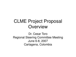 CLME Project Proposal Overview