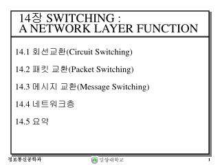 14 장  SWITCHING : A NETWORK LAYER  FUNCTION