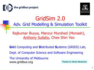 GridSim 2.0 Adv. Grid Modelling & Simulation Toolkit