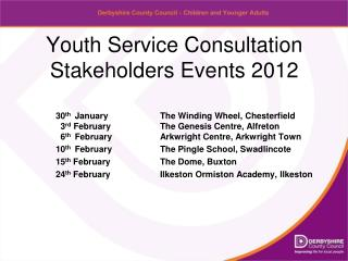 Youth Service Consultation Stakeholders Events 2012