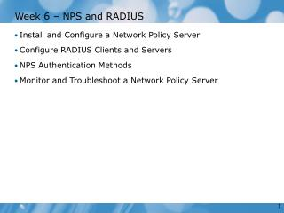 Week 6 – NPS and RADIUS
