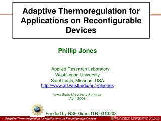 Adaptive Thermoregulation for Applications on Reconfigurable Devices