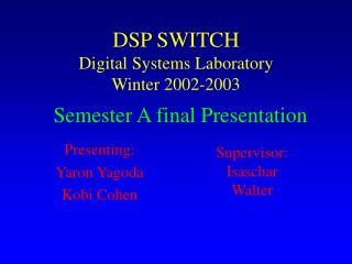 DSP SWITCH Digital Systems Laboratory Winter 2002-2003