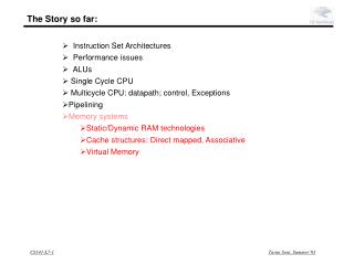 Instruction Set Architectures   Performance issues   ALUs   Single Cycle CPU