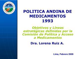 POLITICA ANDINA DE MEDICAMENTOS 1993