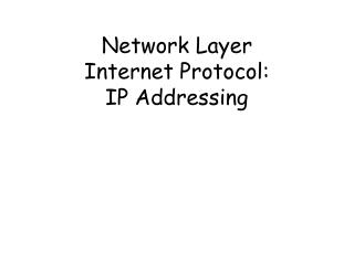Network Layer Internet Protocol: IP Addressing