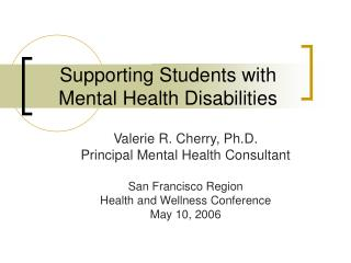 Supporting Students with Mental Health Disabilities