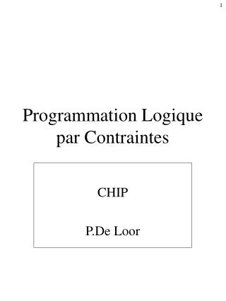Programmation Logique par Contraintes