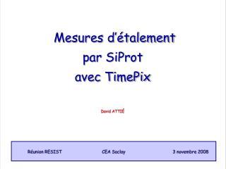 Mesures d'étalement  par SiProt  avec TimePix