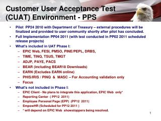 Customer User Acceptance Test (CUAT) Environment - PPS
