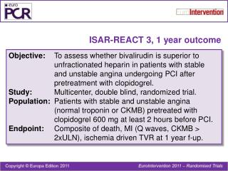 ISAR-REACT 3, 1 year outcome