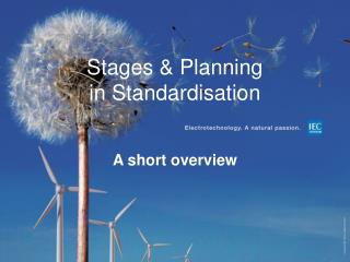 Stages & Planning in  Standardisation