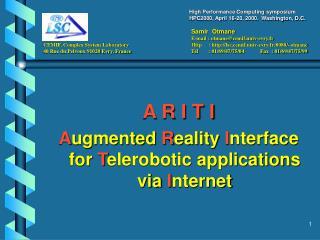 A R I T I A ugmented  R eality  I nterface for  T elerobotic applications via  I nternet