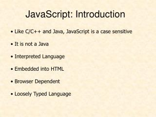JavaScript: Introduction