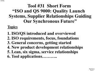 Tool #31  Short Form