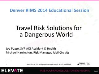 Denver RIMS 2014 Educational Session