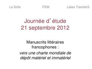 Journée d ' étude 21 septembre 2012
