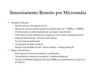 Sensoriamento Remoto por Microondas