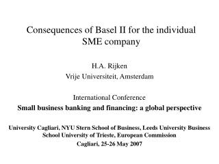 Consequences of Basel II for the individual SME company