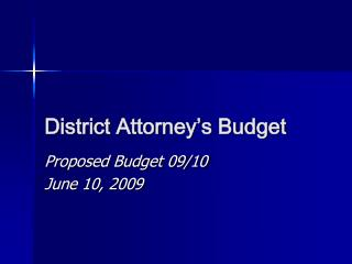 District Attorney's Budget