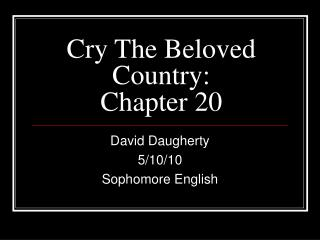 Cry The Beloved Country: Chapter 20