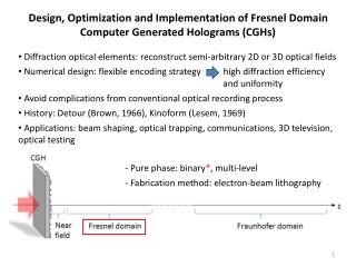 Design, Optimization and Implementation of Fresnel Domain Computer Generated Holograms (CGHs)