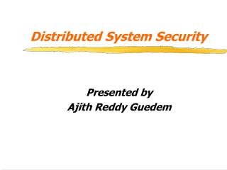 Distributed System Security