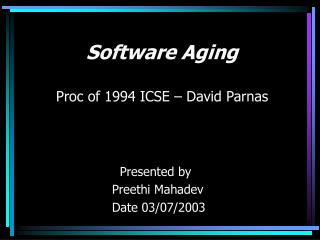 Proc. of 1994 ICSE                               By David Parnas