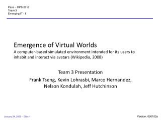 Team 3 Presentation Frank Tseng, Kevin Lohrasbi, Marco Hernandez, Nelson Kondulah, Jeff Hutchinson