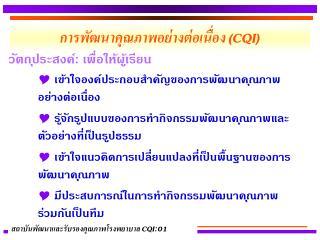 การพัฒนาคุณภาพอย่างต่อเนื่อง  (CQI)