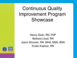Continuous Quality Improvement Program Showcase