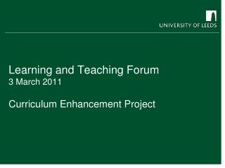 Learning and Teaching Forum 3 March 2011
