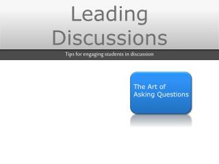 Leading Discussions