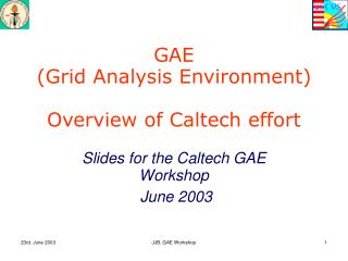 GAE (Grid Analysis Environment) Overview of Caltech effort