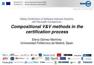 Compositional V&V methods in the certification process Elena Gómez-Martínez