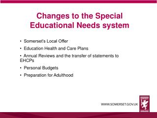 Changes to the Special Educational Needs system