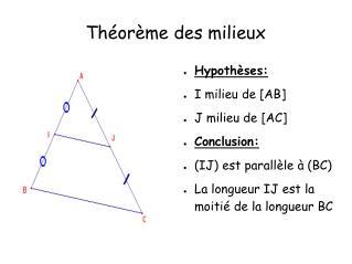 Théorème des milieux