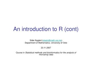 An introduction to R (cont)
